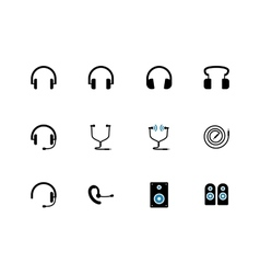Headphones and speakers duotone icons vector