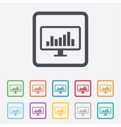 Computer monitor sign icon market monitoring vector