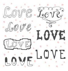 Love valentines day typography elements sketchy vector
