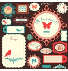 Cute scrapbook childish set vector