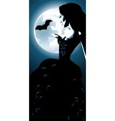 Girl and moon vector