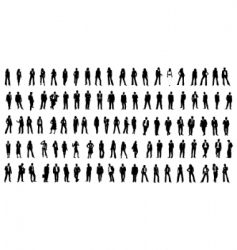 Hundred silhouette people vector