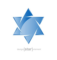 Glass star of david on white background vector