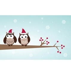Owls christmas branch vector