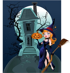 Halloween witch house vector