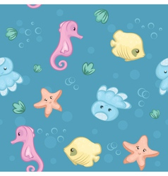 Seamless pattern of underwater creatures vector