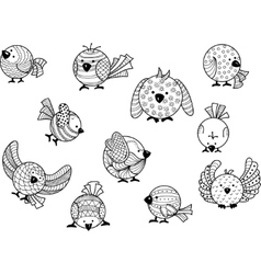 Decorative image of birds in cartoon style vector