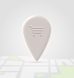 Shopping place pin over local map vector