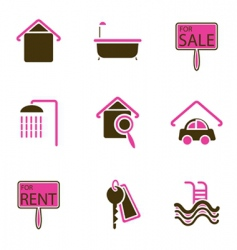 House objects icons vector