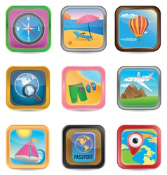 Set of app travel buttons vector