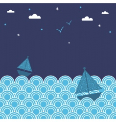 Night boats vector