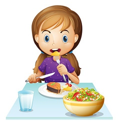 A hungry girl eating lunch vector