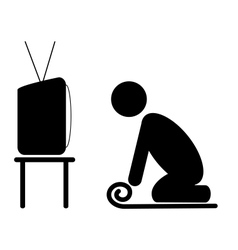 Tv yoga tutorial lesson man pictogram flat icon vector