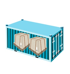 Shipping boxes with steel strapping in container vector
