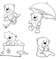 A set of bears coloring book vector