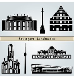 Stuttgart landmarks and monuments vector