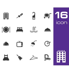 Black hotel icon set on white background vector