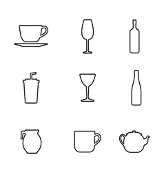 Bottle cup glass collection line silhouette vector