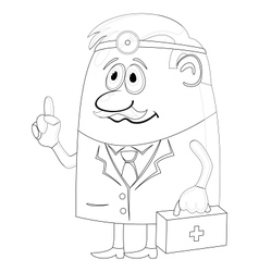 Doctor with case contour vector