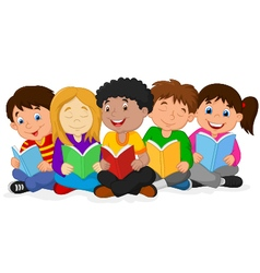 Happy children sitting while reading books vector