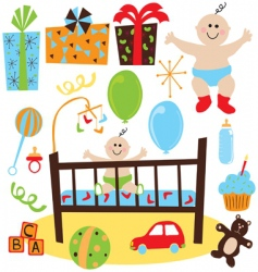 Baby boy retro birthday party vector