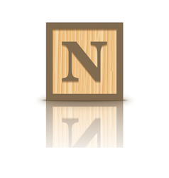 Letter n wooden alphabet block vector