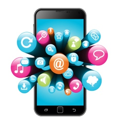 Smart phone with internet icons vector