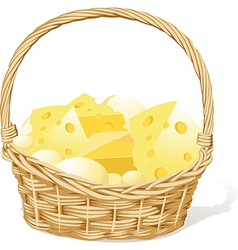Basket fool of cheese isolated on white background vector