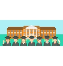 Flat style kids graduation and school building vector