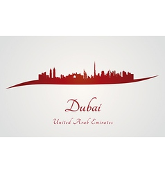 Dubai skyline in red vector