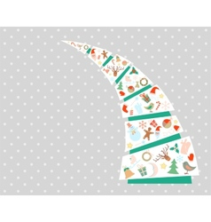 New year and christmas fir tree with decorations vector