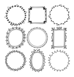 Romantic hand drawn frames vector