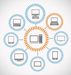 Computer network abstract scheme vector