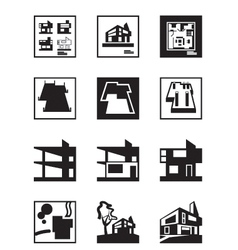 Stages of construction of building vector