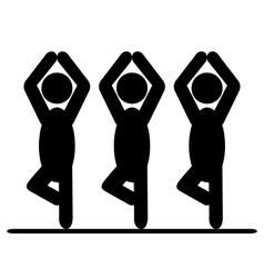 Yoga balance asana people pictogram flat icon vector