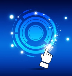 Hand turn button with magic light vector