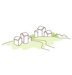 Rural house green landscape vector