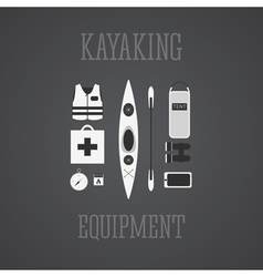 Kayaking equipment icons set kayak on a grayscale vector