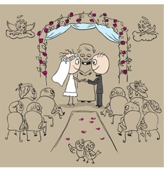 Wedding ceremony in church vector