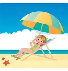 Girl sunbathes lying on a sun lounger on the beach vector