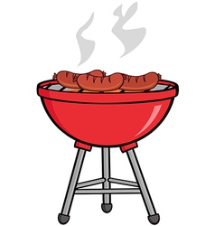 Grilled sausages on barbecue vector