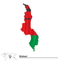 Map of malawi with flag vector