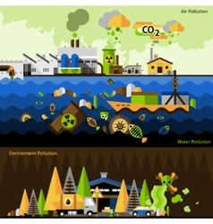 Pollution banners set vector