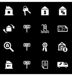 White real estate icon set vector