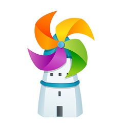 Icon windmill and house vector