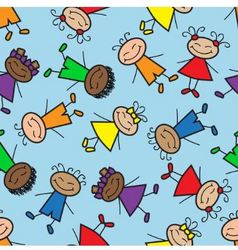 Seamless background with cartoon kids vector
