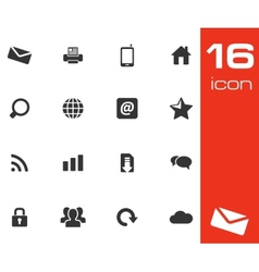 Black internet icons set vector