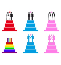 Wedding cakes with couples set vector