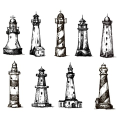 Set of cartoon lighthouses icons pencil drawing vector