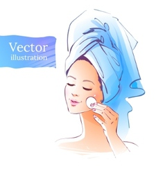 Girl skin care vector